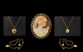 A Small Collection of 9ct Jewellery comprises 1. 9ct Gold Mounted Cameo marked 9ct. 1.5 inches 3.