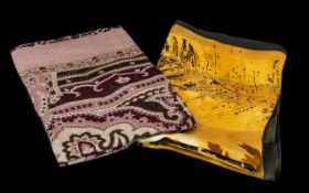 Two Basler Silk Squares comprising silk square with a golden stripey background with fern design;