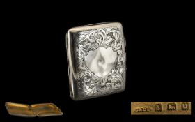 Ladies - Sterling Silver Cheroot Hinged Case with Gilt Interior and Vacant Shield Cartouche to