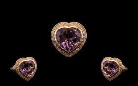 Rose de France Amethyst and White Zircon Heart Shaped Ring,