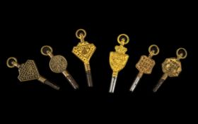 A Collection of 6 Victorian Watch Keys all advertising jewellery.
