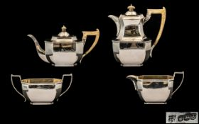 1960's Fine Quality ( 4 ) Piece Sterling Silver Tea and Coffee Set of Solid Form and Excellent