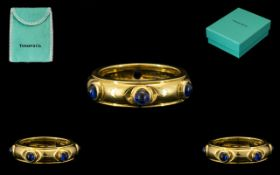 Tiffany & Co 18ct Gold Attractive Sapphire Set Dress Ring.