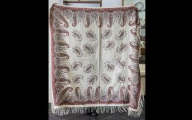 Paisley Antique Shawl/Table Cloth with fringed edging.
