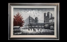 Large Oil on Canvas French Street Scene framed in a contemporary silver frame. Scene depicts the