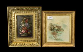Two Small Paintings, one on a panel in gilt frame floral. size 12 by 9.5 inches.