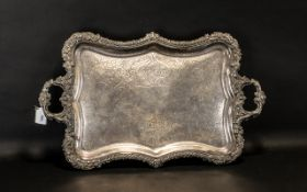 Large 18th Century Sheffield Plate Serving Tray engraved to the centre with a heraldic family