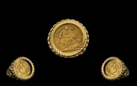 Queen Victorian 22ct Gold Sovereign date 1897 Bullion Coin set with 9ct gold ring mount. 8.
