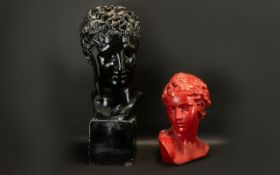 """Large Plaster Bust of Apollo with black lacquered finish, height 23""""."""
