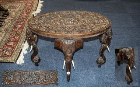 Indian Carved Oval Teak High Table,