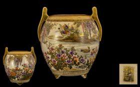 Japanese - Meiji Period 1864-1912 Unusual Satsuma Globular Sharet Two Handled Vase - Finely