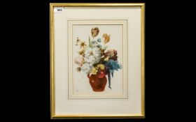 Watercolour Flowerpiece Initialled ES with tulips and other flowers inset in a red jug with handle.