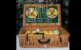 Harrod's Picnic Basket with full contents including mugs, glasses, thermos flasks,