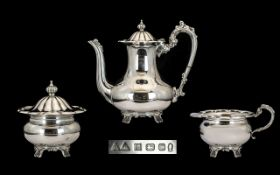 Elizabeth II - Superb Quality Sterling Silver 3 Piece Coffee Service, Comprises Large Coffee Pot,