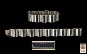Georg Jensen Stylish Designer Sterling Silver Wide Band Bracelet 'Surf' design.