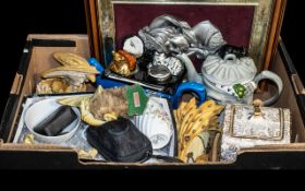 A Miscellaneous Lot of Collectables to include a pewter bust oa a beauty, velvet backed with frame,