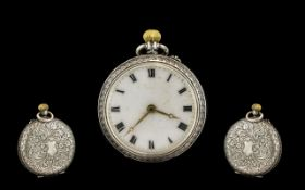 Silver Fob Watch. Hall marked silver fob watch with enamel dial, please see accompanying image.