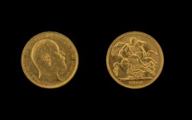 Edward VII 22ct Gold Full Sovereign - Date 1904. Sydney Mint & High Grade Coin.