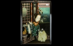 Chinese Mirror Painting on Glass depicting a Chinese classical beauty with a cat, in a wooden frame.