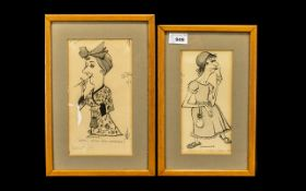 Pair of Signed Ink Stage Character Drawings by Emmwood,