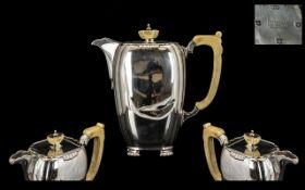 Art Deco Period Superb Quality - Sterling Silver Water Jug with Bakelite Handle and Finial