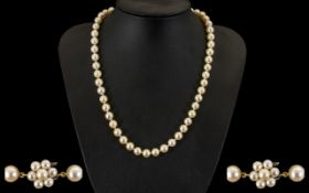 Ladies - Contemporary Designed Excellent Quality Single Strand Cultured Pearl Necklace Highlighted