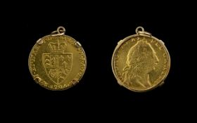 George III 22ct Gold Guinea date 1794 within a 9ct gold mount pendant. 9.5 grams. Please see photo.