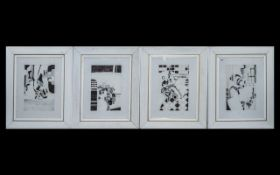 Set of Four Abstract Pen & Ink Watercolour Drawings. Size 11.