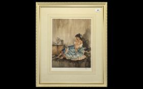 William Russell Flint Limited Edition Print of a reclining semi-nude lady. No. 412/850. Mounted