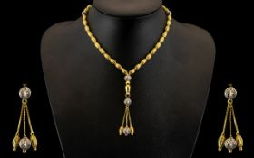 18ct Gold - Diamond Set Prayer Beads with Diamond Set Spacers and Tassel. The Whole of Good
