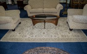 Large Traditional Chenille Style Rug in neutral cream,