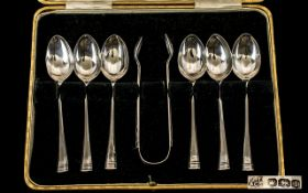 1920 Nice Quality Set of Six Silver Tea Spoons with Matching Sugar Nips - complete with original