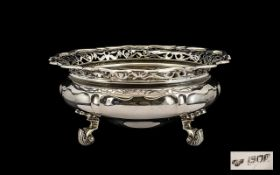 Late Victorian Period- Goldsmiths and Silversmiths Company Very Fine Quality Sterling Silver Footed