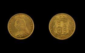 Queen Victoria Jubilee Head - Shield Back 22ct Gold Half Sovereign - Date 1887.
