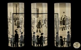 Lowry 'The Football Match' Limited Edition Collector's Item Vase. Based on a pencil drawing by L.