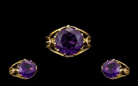 18ct Gold Stunning Quality Single Stone Amethyst Set Dress Ring of wonderful colour.