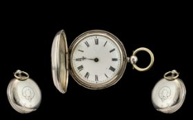 1930's Sterling Silver Full Hunter Fusee Movement Pocket Watch.