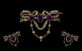 Early Victorian Period Exquisite and Superb Quality Diamond and Amethyst Sweetheart Set