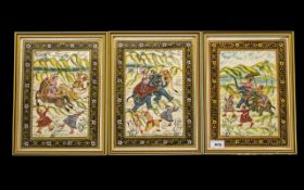 Persian Set of Three Paintings on Cloth, Mogul style, brightly decorated,