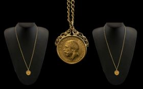 George V 22ct Gold Half Sovereign date 1914. London mint. good coin with 9ct mount and chain. 12.