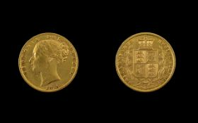 Queen Victoria Young Head - Shield Back 22ct Gold Full Sovereign - Date 1873.