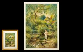 Herbert Sidney Percy Signed Watercolour depicting a lady standing by a river with a pail to collect
