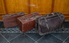 Large Leather Gladstone Leather Bag & Two Others.