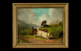 A Blake British 19thC Artist Titled 'Terriers Rabbitting' Oil on Canvas, Signed and dated 1866.