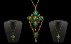 Antique Period 18ct Gold Superb Quality Impressive and Large Pendant Drip - set with turquoise