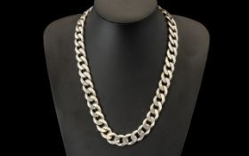 Large Silver Curb Necklace.