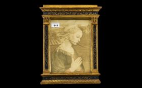 Florentine Antique Small Gilt & Painted Tabernacle Frame of traditional form,