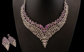 Purple Crystal Necklace and Drop Earring