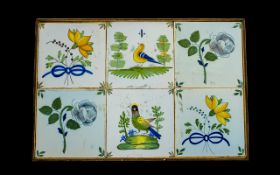 Antique Delft 18th Century Tiles. Six ti