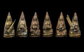 A Rare Set of Antique Tibetan Bronze Fig